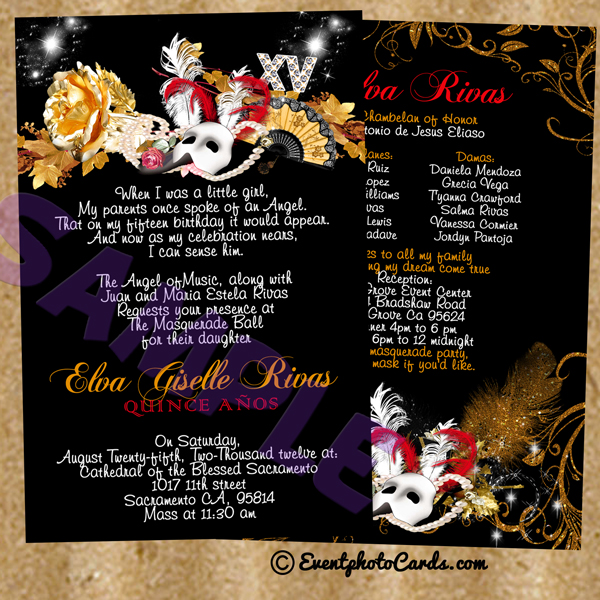 quinceanera masquerade invitations