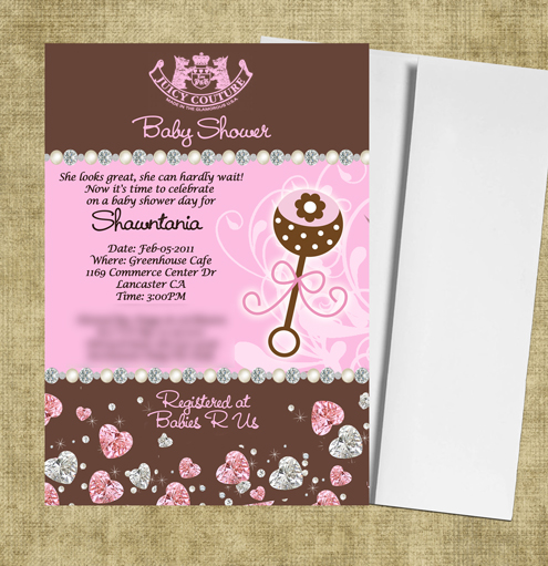 Juicy Couture Baby Shower Invitations