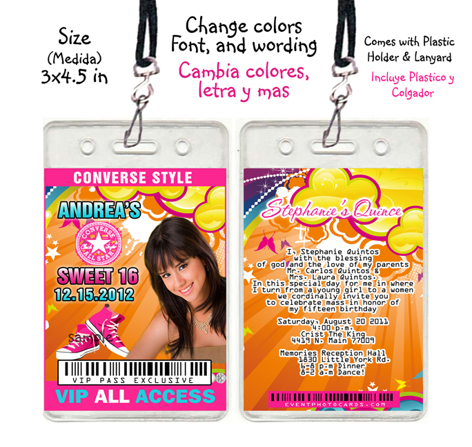 Access Passes And Design All Access Pass Quinceanera