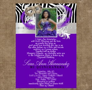 purple quinceanera invitations