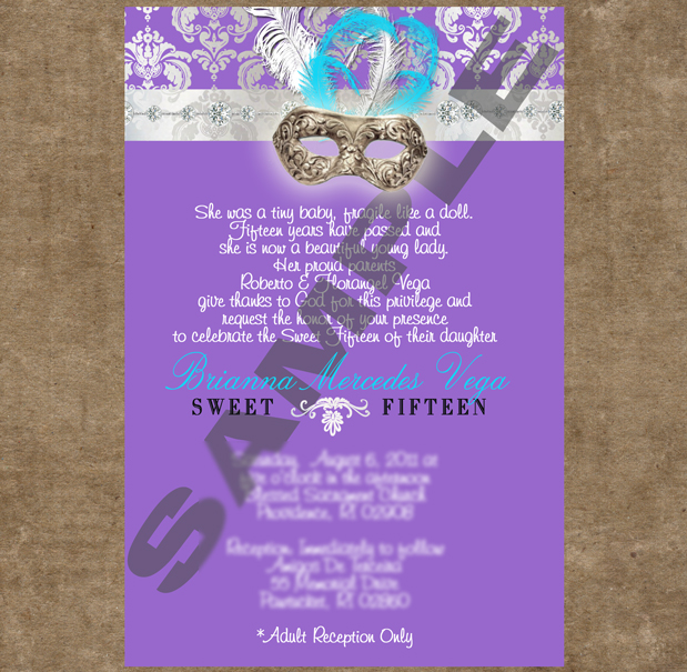 Masquerade Quinceanera Invitations -
