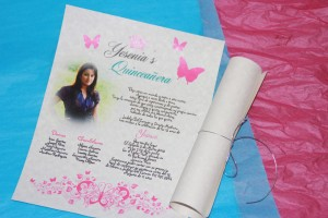Scroll Invitations For Sweet 16 Fifteen Butterfly