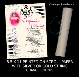 Zebra Quinceanera Scroll Invitations Quince Anos Invites