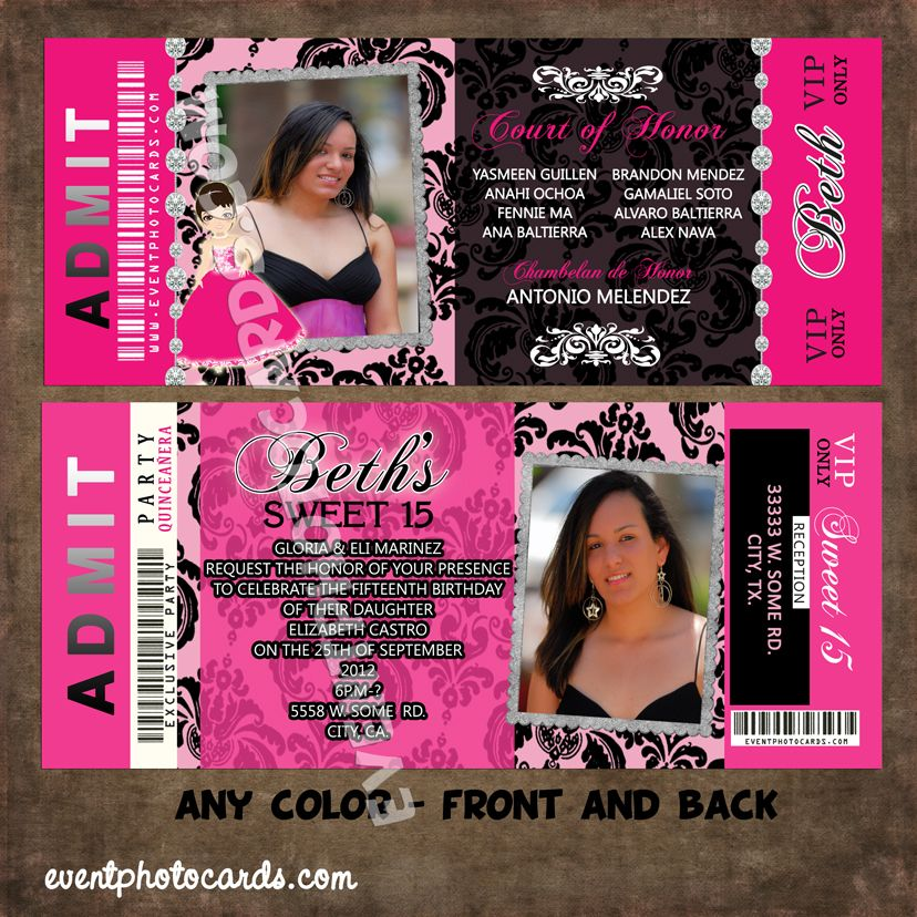 quinceanera ticket invitations – Invitations That Look Like Concert Tickets