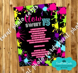 neon party invitations, Party invitations