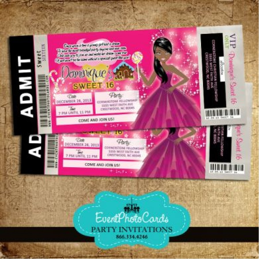 candyland ticket aa1 invitation african american sweet 16