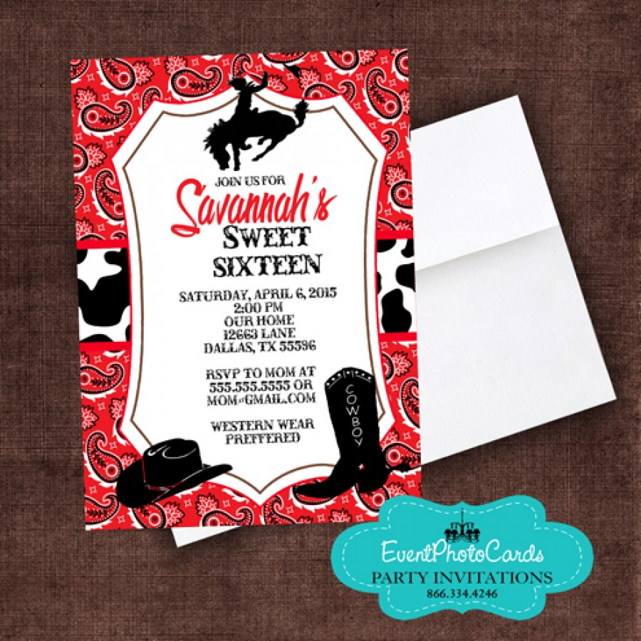 Red Bandanna Cowgirl Western , Sweet Sixteen Invitations ...