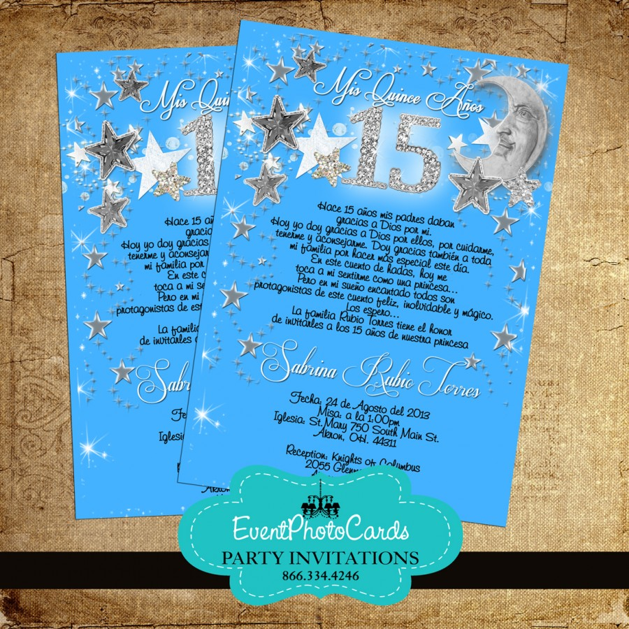 Stars & Moon Blue Quinceanera Invitations