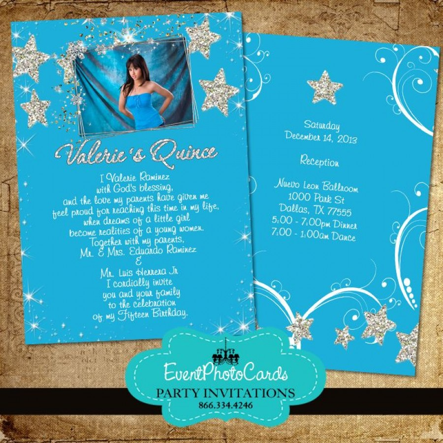 Stars & Moon Quinceanera Invitations