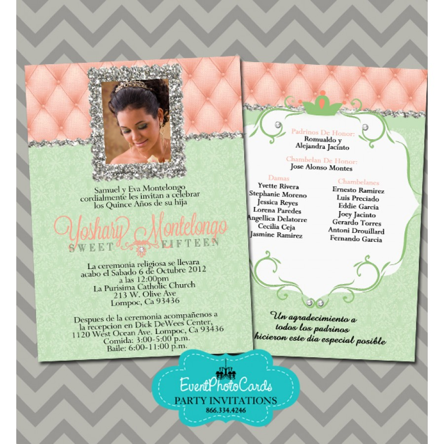 Coral And Mint Green Quinceanera Invitations, 15th