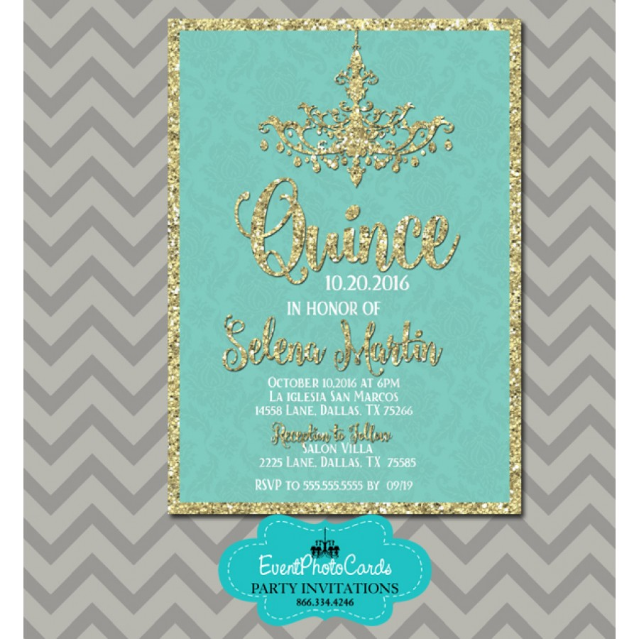 teal  u0026 gold 15th birthday invitations