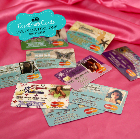 Credit card quinceanera invitations sweet 16th invitations our credit card invitations are unique and most people keep the invite as a memory laminated with the thickest plastic and gloss finish we will assign a stopboris Image collections