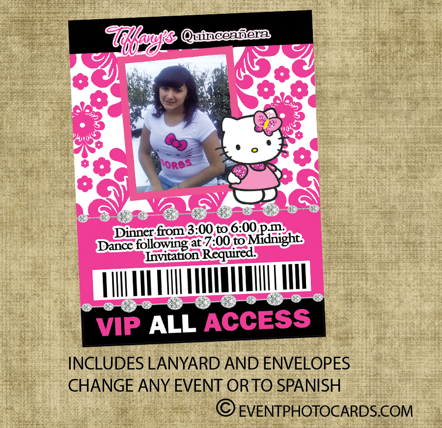 hello kitty inspired vip pass invitations for sweet 15 or 16