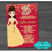 Beauty & the Beast Doll Quinceanera Invites