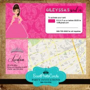 Doll Quinceanera with Map  Credit Card Holder-RSVP
