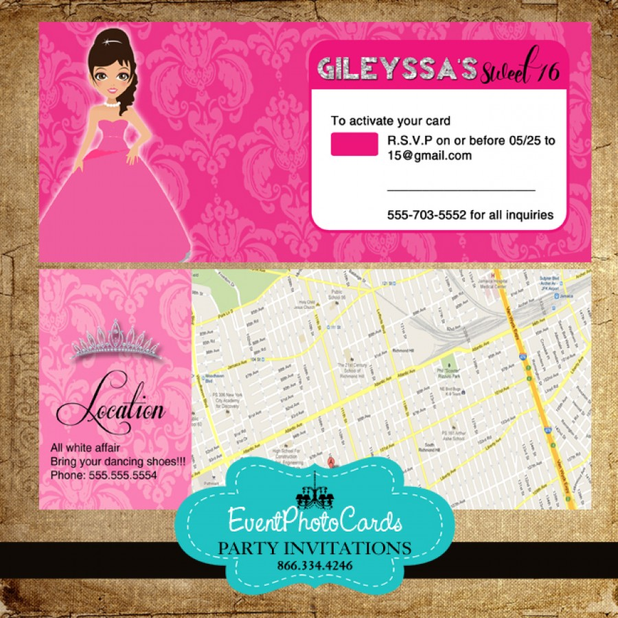 Doll Quinceanera with Map Credit Card Holder-RSVP with Envelopes