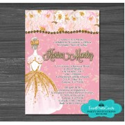 Crown Confetti Gold Light Pink Quinceanera Invitations
