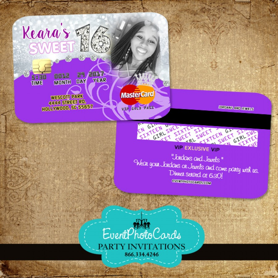 Personalized Purple Photo Sweet 16 - Credit Card - Sweet ...