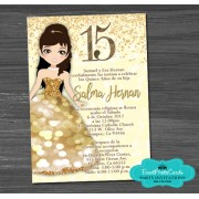 Custom Confetti Gold Light Sweet 15 Invitations