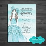 Quinceanera Invitations in Spanish - Baby Blue