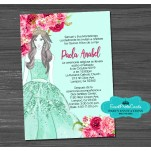 Floral Mint and Floral Pink Quinceanera Invitations
