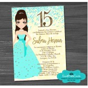 Doll Confetti Gold Light Aqua  Quinceanera Invites