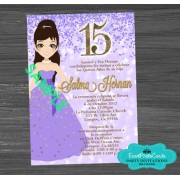 Doll Confetti Gold Lavender  Quinceanera Invitations