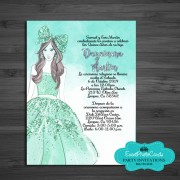 Quinceanera Invitations in Spanish - Mint Green