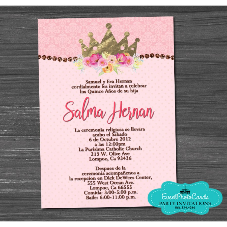 91c74c7e5d8 Crown Quinceanera Invitations Floral with Glitter Diamonds - Sweet 16 15
