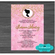 Doll Confetti Pink Sweet 15 Invitations