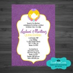 Tea cup Purple Gold Birthday Party Invitations