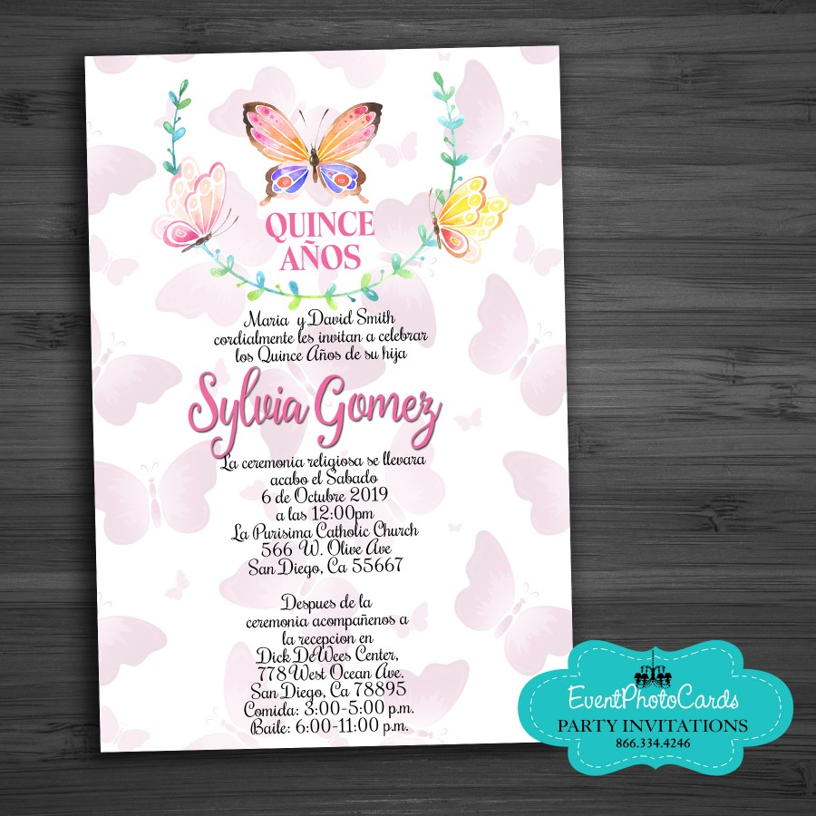 Butterflies for your Sweet 15th Invitations Cards