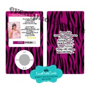 Ipod Purple Zebra Quinceanera Invitations