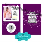 Ipod Purple Stars Quinceanera Invitations
