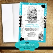 Alice in Wonderland Invitations Aqua