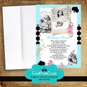 Alice in Wonderland Invitations Light Pastel Blue