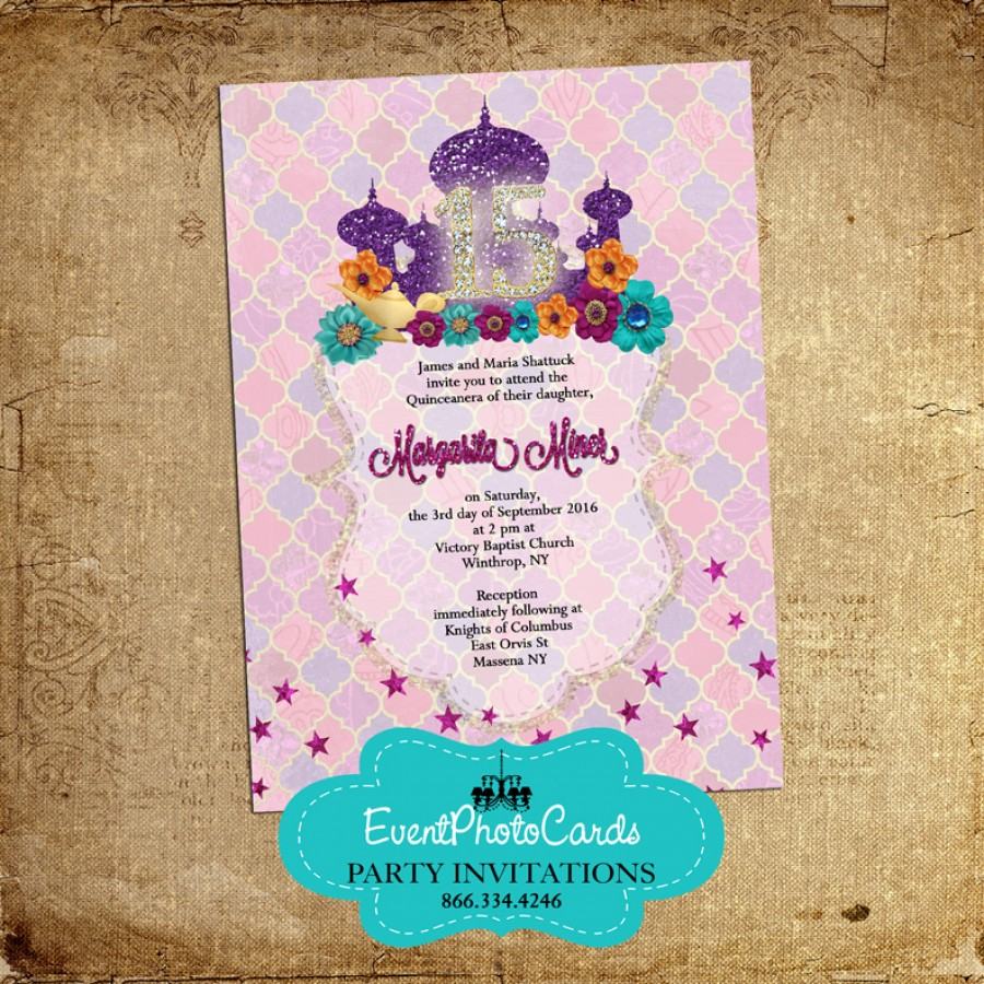 Middle Eastern Arabian Style Invitations Mis XV 15 Mis Quince