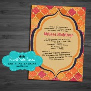 Gold Orange Sweet 16 Birthday Arabian Invitations