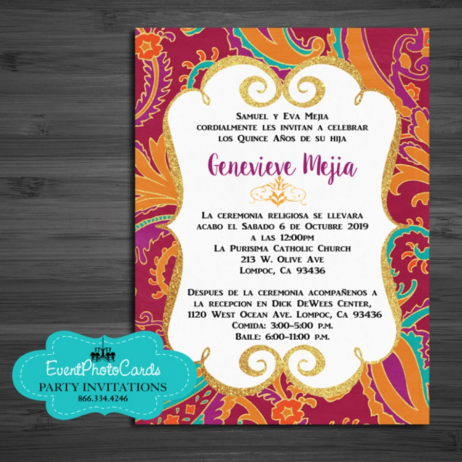 Orange Gold Middle Eastern Arabian Style Invitations - Mis XV - 15 ...