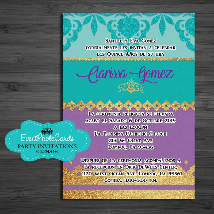 Purple Middle Eastern Arabian Style Invitations Mis XV 15 Mis