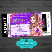 Arabian Theme Purple Pink Ticket Invitations -  Teen