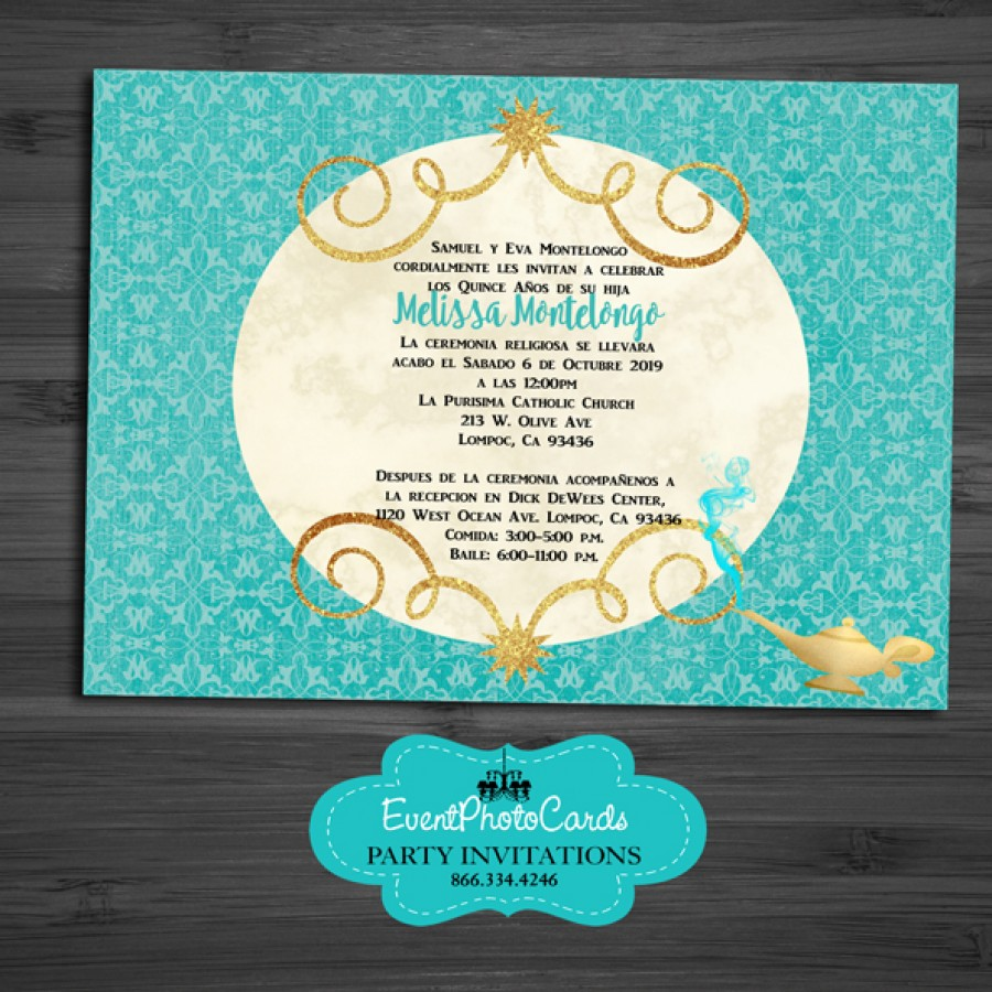 teal gold middle eastern arabian style invitations - mis xv