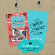 Aqua & Coral Beach Seashell - Vip Quinceanera Invitations
