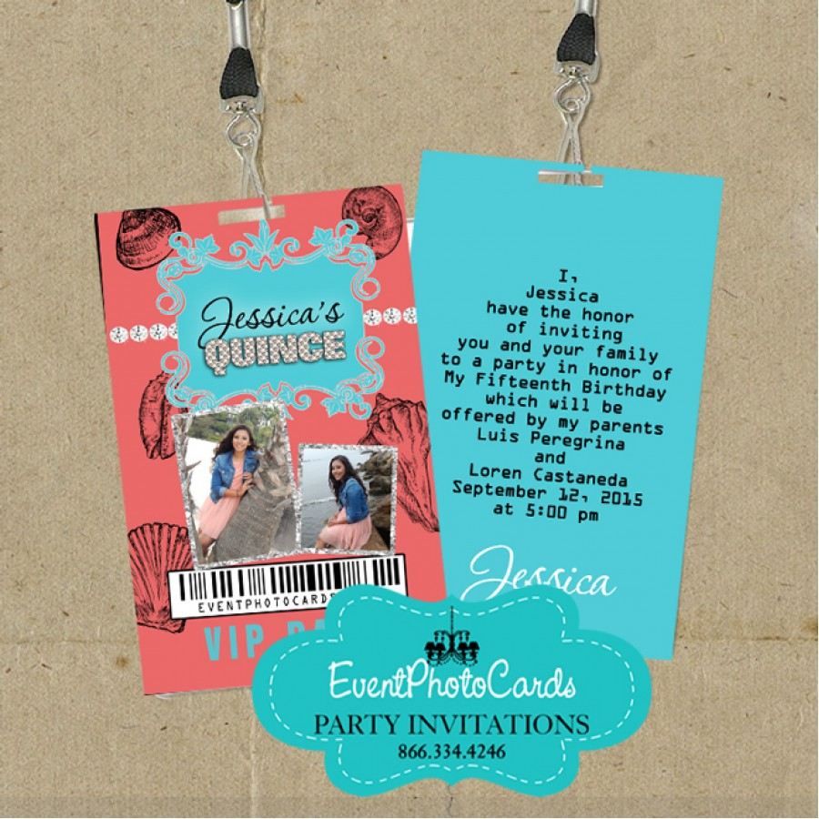 aqua  u0026 coral beach invitations   sweet 15 vip pass invitations