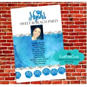 Watercolor Blue Ocean Seashell Quinceanera