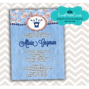 Denim Blue Jeans Quince Invitations