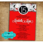 Fashion Red  - Sweet 15 Invitations
