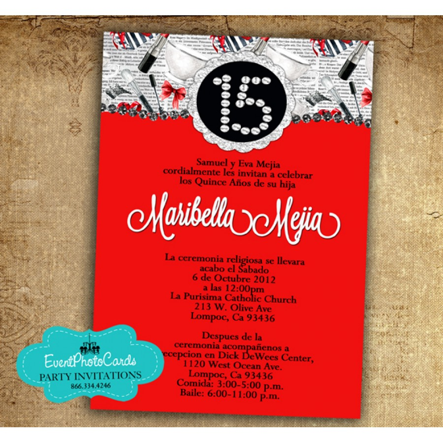 Free Shipping on All orders Fast. Fashion Red - Sweet 15 Invitations