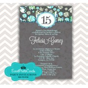 Teal Green Quinceanera Birthday Invitations - Bling