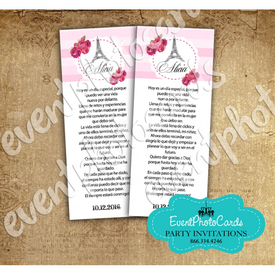 paris pink stripe bookmark paris bookmark favors